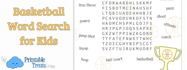 Basketball Word Search for Kids — Printable Treats.com
