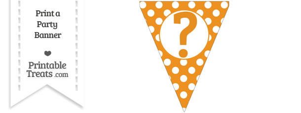 picture about Printable Question Mark identified as Carrot Orange Polka Dot Pennant Flag with Wonder Mark