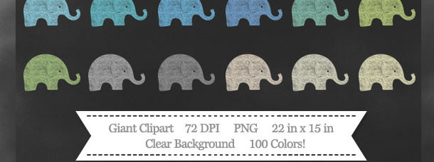 100 Colors Baby Elephant Chalk Clipart Download