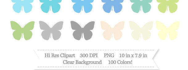 100 Colors Butterfly Clipart Download