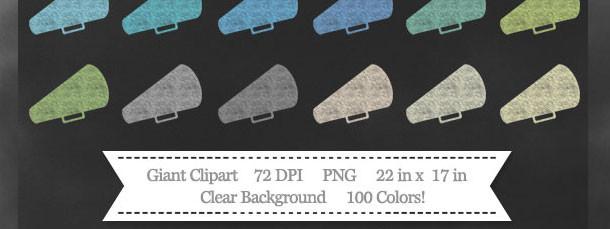100 Colors Cheer Megaphone Chalk Clipart Download