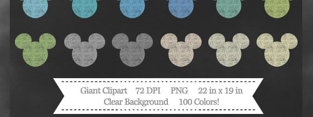 100 Colors Giant Mickey Mouse Chalk Clipart Download