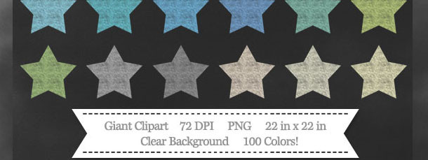 100 Colors Star Chalk Clipart Download