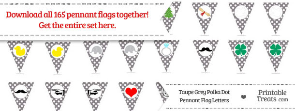 Taupe Grey Polka Dot Pennant Flag Letters Download