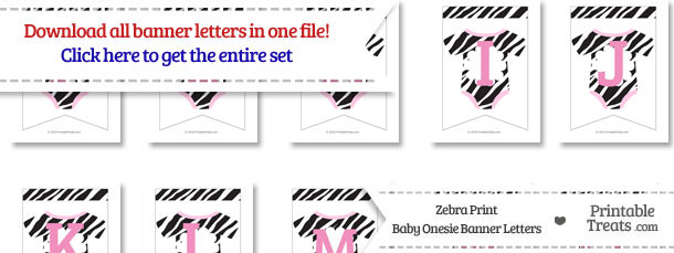 Zebra Print Baby Onesie Bunting Banner Letters Download