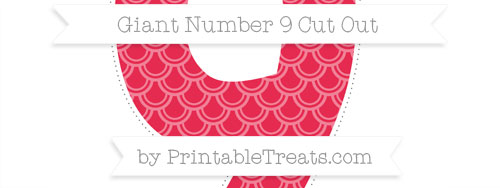 Amaranth pink fish scale pattern giant number 9 cut out for Giant cupcake liner template