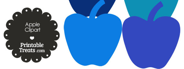 Apple Clipart in Shades of Blue from PrintableTreats.com