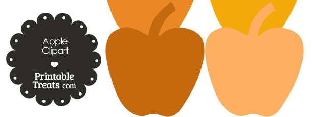 Apple Clipart in Shade of Orange from PrintableTreats.com