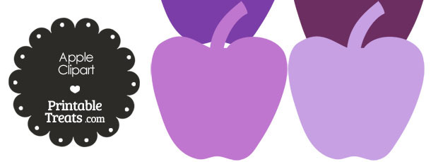 Apple Clipart in Shades of Purple from PrintableTreats.com