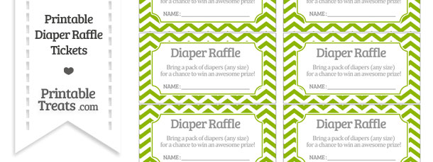 Free Apple Green Chevron Diaper Raffle Tickets Printable Treats Com