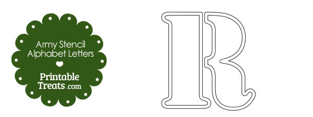 Army Stencil Outline Letter R
