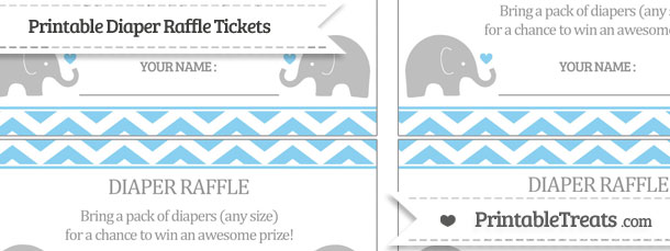 Free Baby Blue Chevron Baby Elephant Diaper Raffle Tickets
