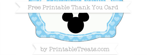 Baby Blue Heart Pattern Mickey Mouse Thank You Card Printable