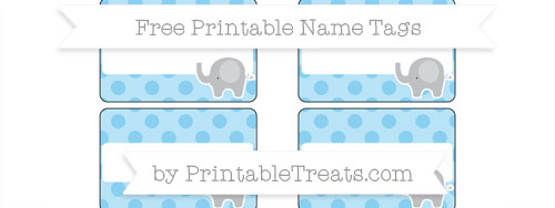Free Baby Blue Polka Dot Elephant Name Tags Printable