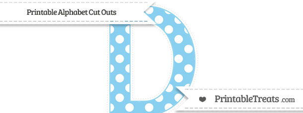 free baby blue polka dot extra large capital letter d cut outs