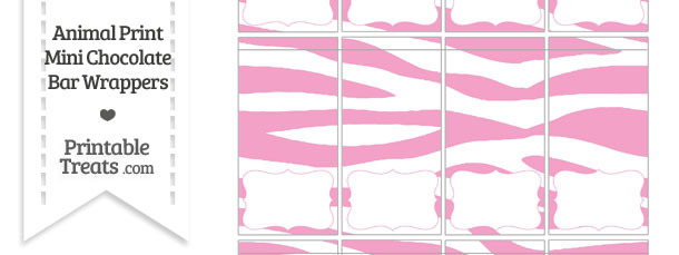 Baby Pink and White Zebra Print Mini Chocolate Bar Wrappers
