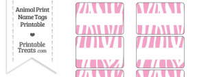 Baby Pink and White Zebra Print Name Tags