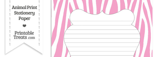 Baby Pink and White Zebra Print Stationery Paper