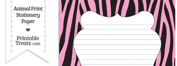 Baby Pink Zebra Print Stationery Paper