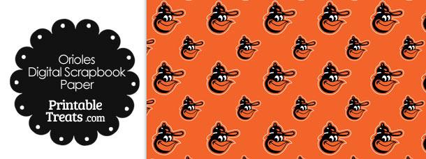 Baltimore Orioles Baseball Digital Paper With Orange Background