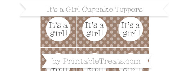 Beaver Brown Dotted Pattern Its a Girl Cupcake Toppers