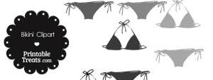 Bikini Clipart in Shades of Grey