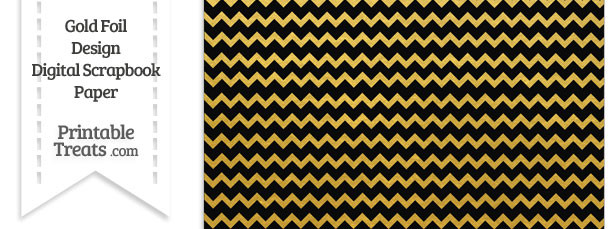 Black And Gold Foil Chevron Digital Scrapbook Paper Printable