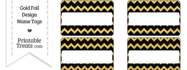 Black and Gold Foil Chevron Name Tags