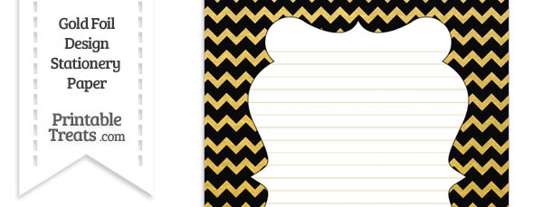 Black and Gold Foil Chevron Stationery Paper