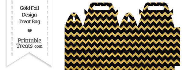 Black and Gold Foil Chevron Treat Bag