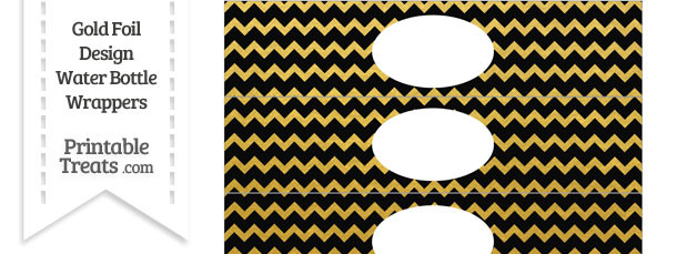 Black and Gold Foil Chevron Water Bottle Wrappers