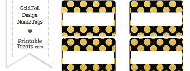 Black and Gold Foil Dots Name Tags