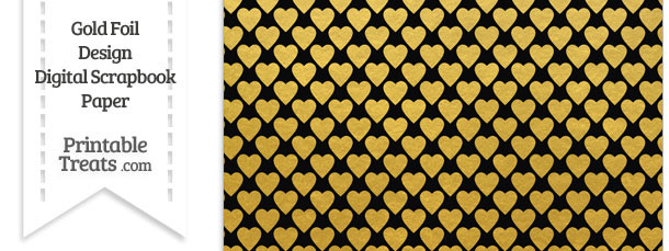 graphic regarding Printable Gold Paper referred to as Black and Gold Foil Hearts Electronic Sbook Paper