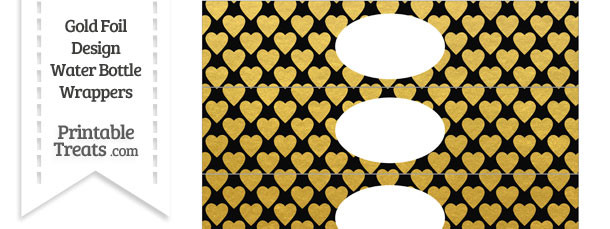 Black and Gold Foil Hearts Water Bottle Wrappers