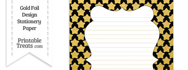 Black and Gold Foil Stars Stationery Paper