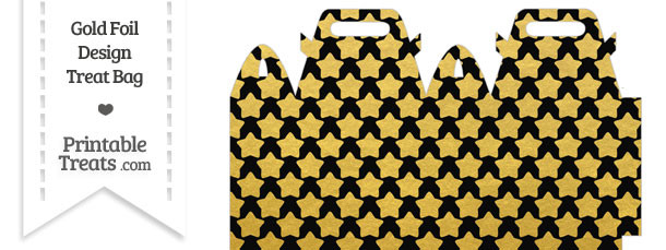 Black and Gold Foil Stars Treat Bag