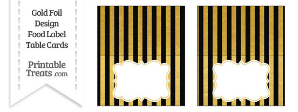 Black and Gold Foil Stripes Food Labels