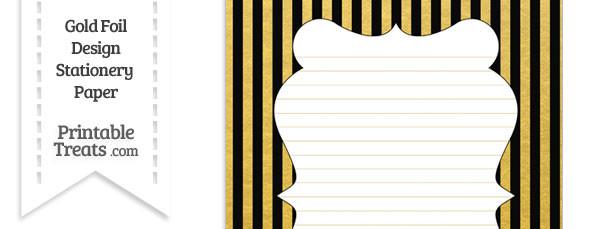 Black and Gold Foil Stripes Stationery Paper