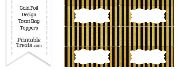 Black and Gold Foil Stripes Treat Bag Toppers