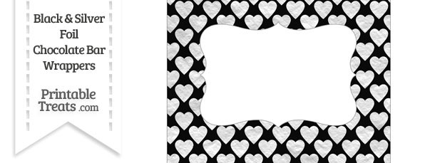 Black and Silver Foil Hearts Chocolate Bar Wrappers