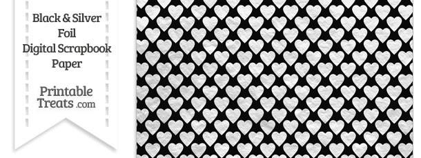 Black And Silver Foil Hearts Digital Scrapbook Paper