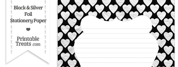Black and Silver Foil Hearts Stationery Paper