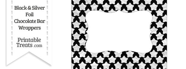 Black and Silver Foil Stars Chocolate Bar Wrappers