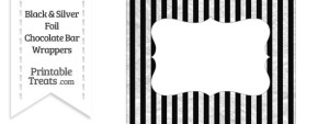 Black and Silver Foil Stripes Chocolate Bar Wrappers