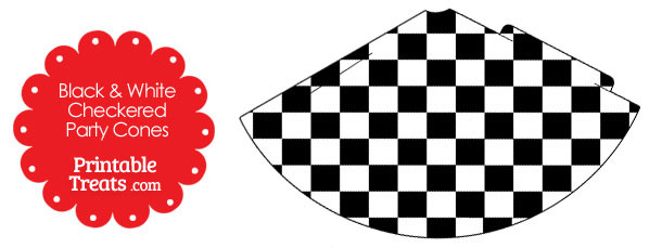 Black and White Checkered Party Cones