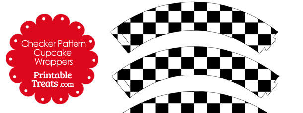 Black and White Checkered Pattern Cupcake Wrappers