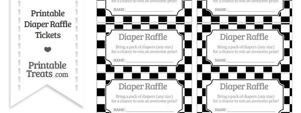 Free Black Checker Pattern Diaper Raffle Tickets Printable