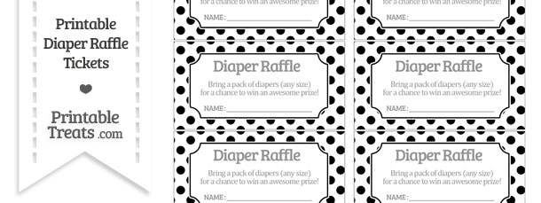 Free Black Polka Dot Diaper Raffle Tickets Printable