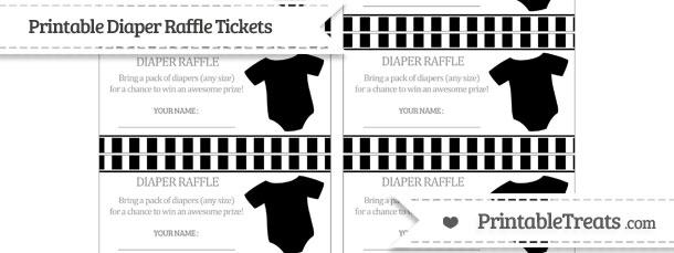 free black striped baby onesie diaper raffle tickets