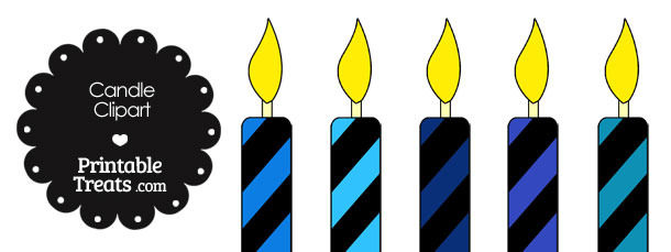 Blue and Black Candle Clipart